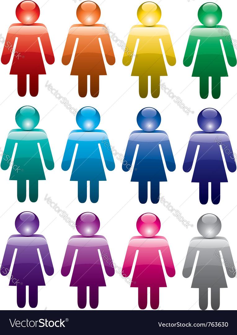 Colorful woman symbols