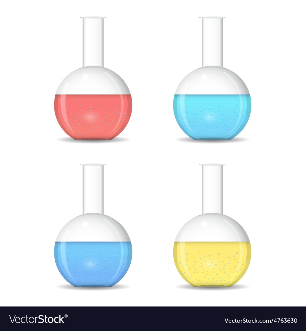 Flat bottom chemical flasks with colored sulutions