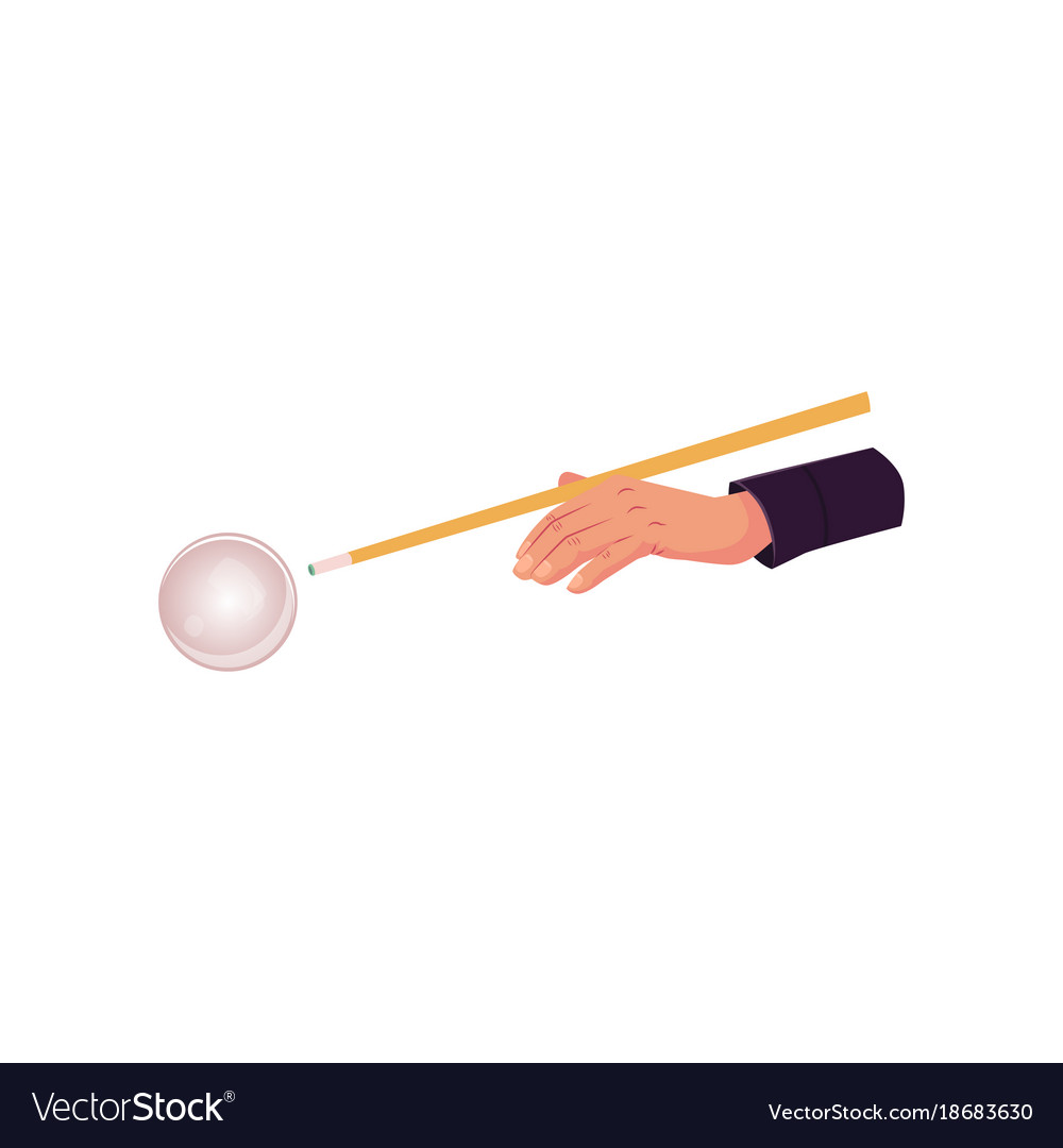 Flat hand in billiard glove with cue stick