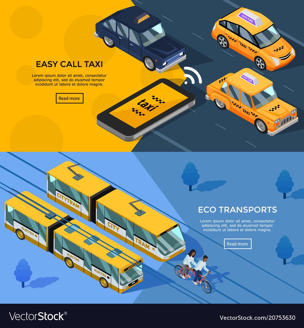 Isometric transport horizontal banners vector image