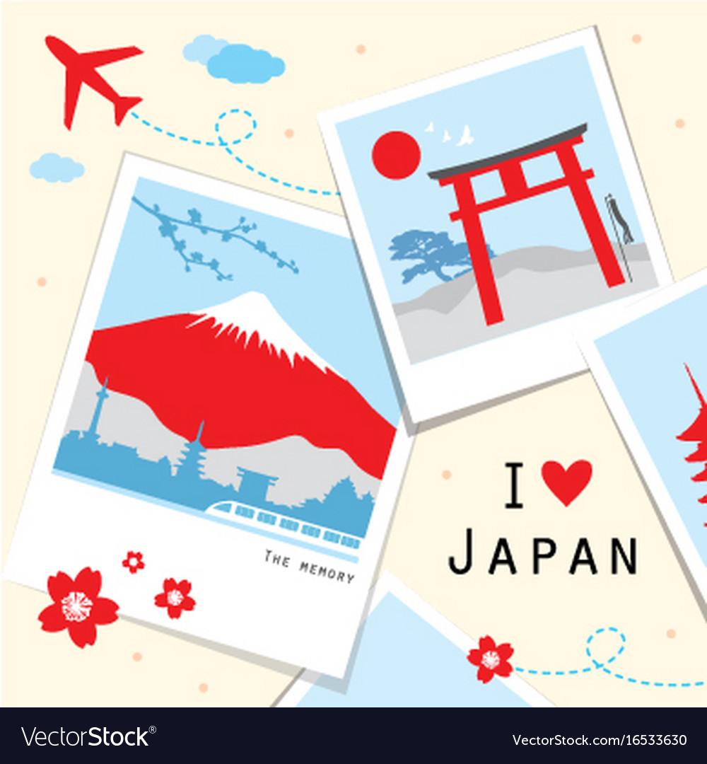 Japan view travel photo frame memory Royalty Free Vector