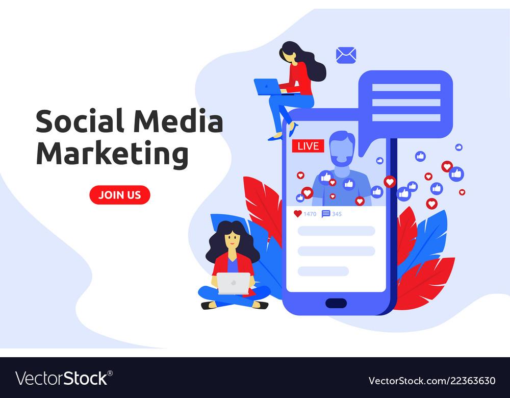 Modern flat design concept for social media