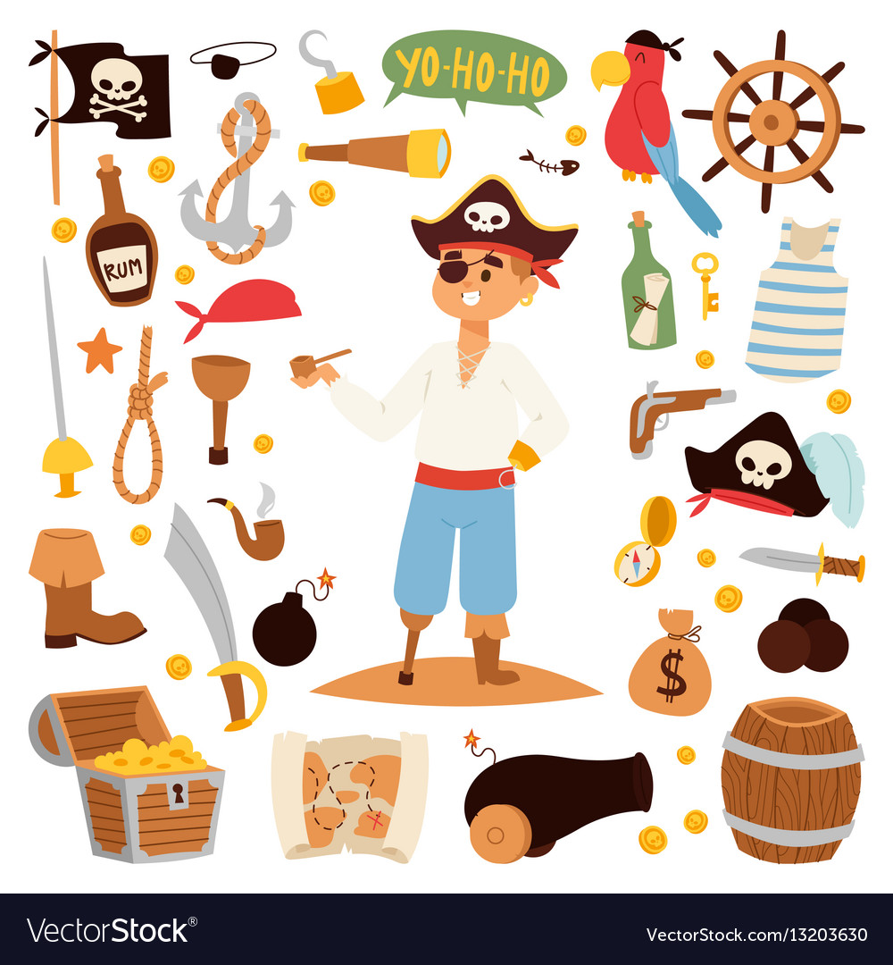Pirate character design with icons