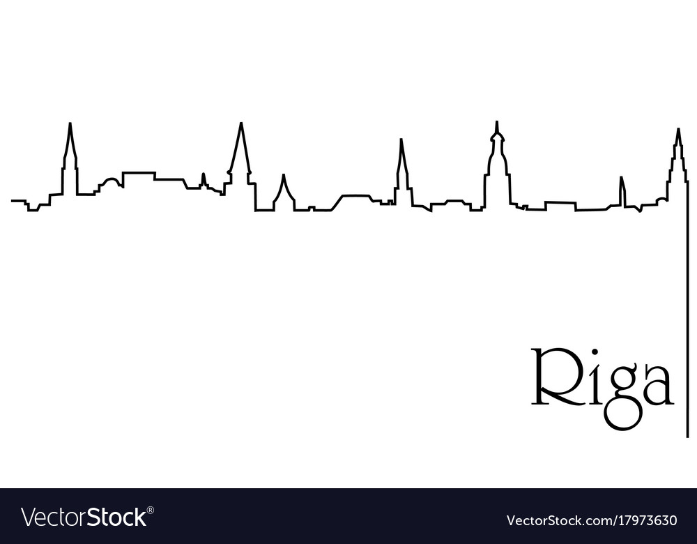 Riga city one line drawing background