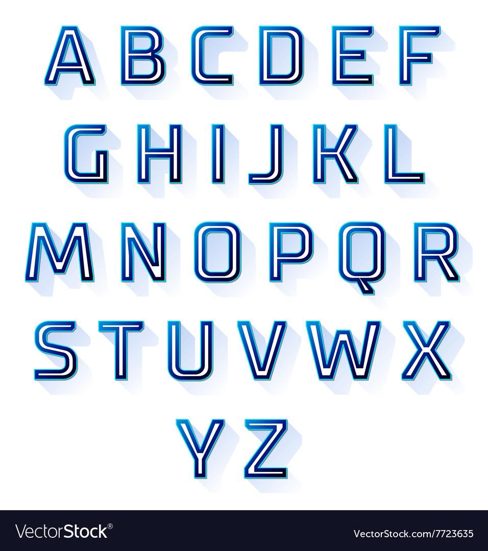 Blue font design set