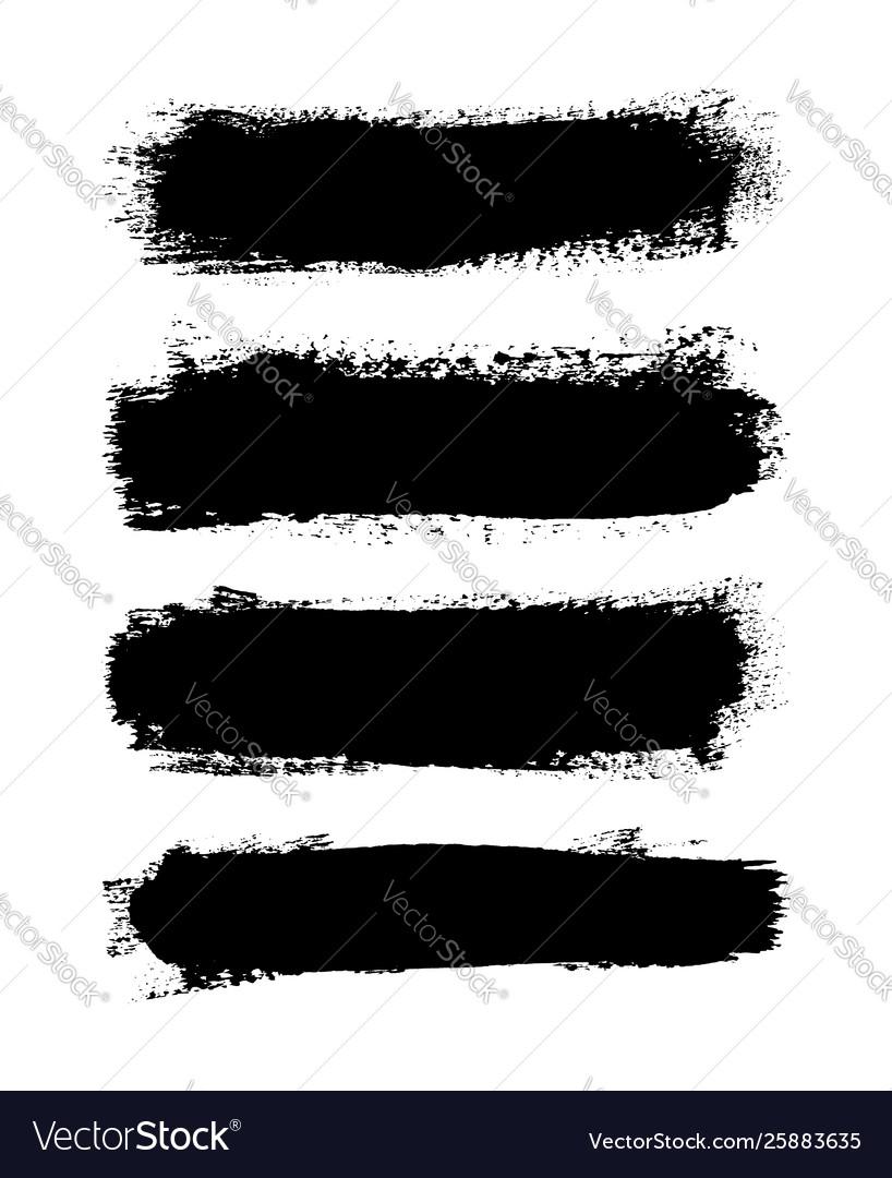 Brush strokes set isolated white background