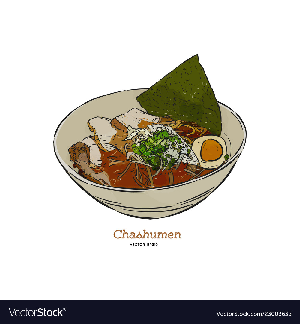 Chashumen Ramen Noodle Hand Draw Sketch Royalty Free Vector