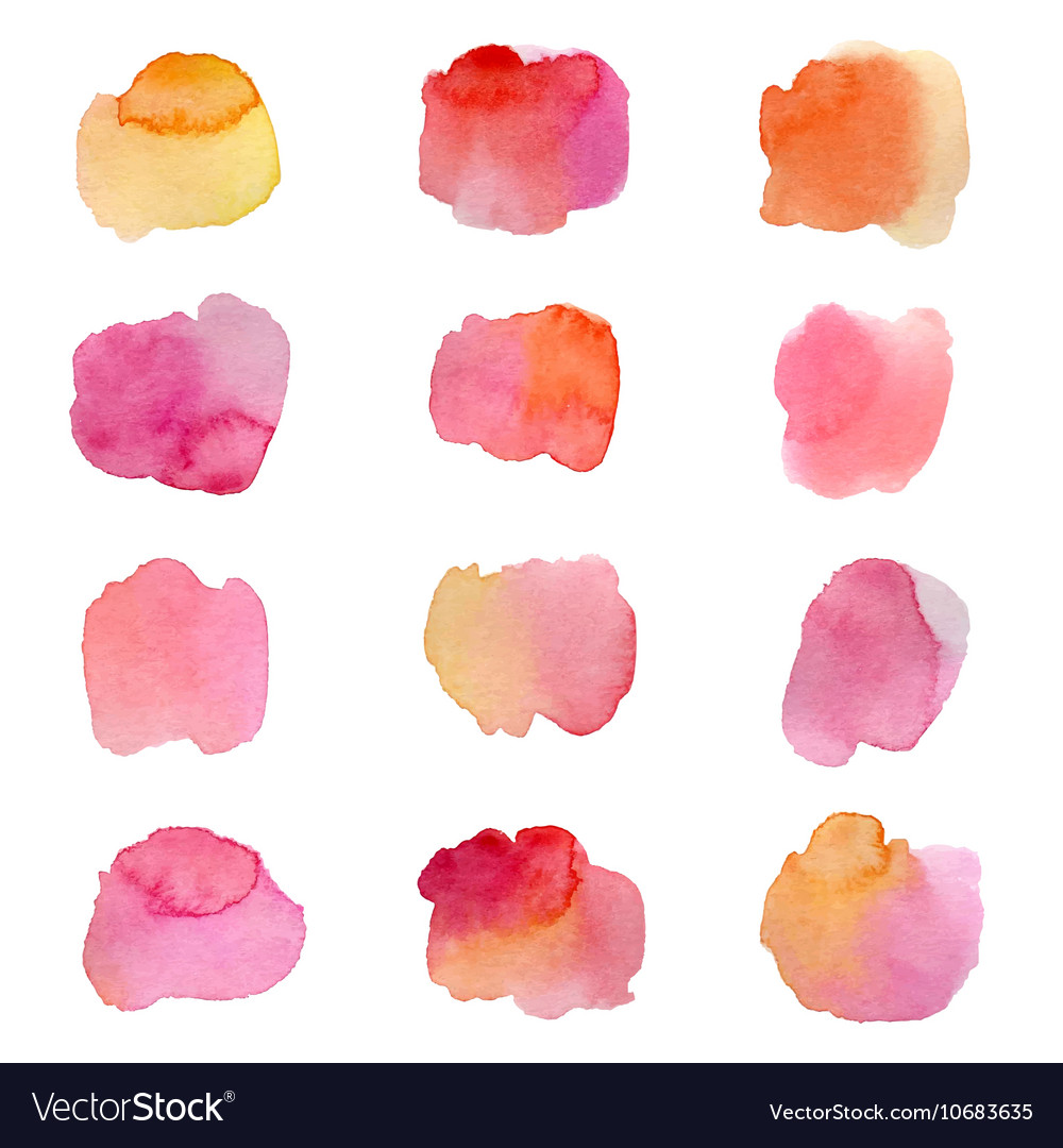 Colorful watercolor splashes isolated on white