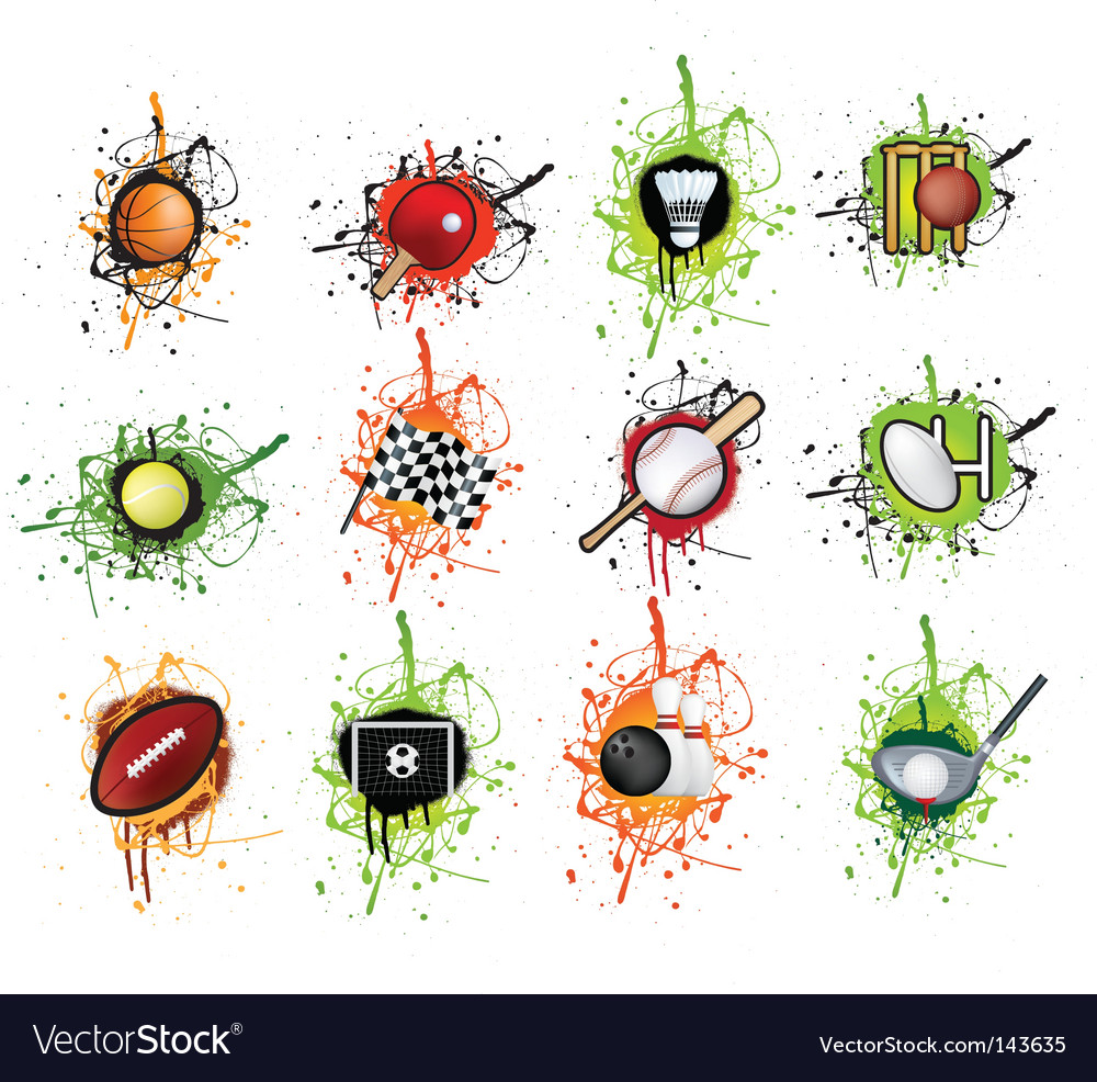 Grunge sports icons vector image