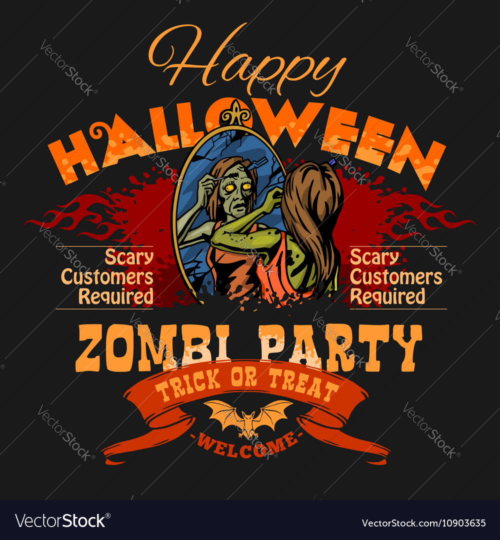 halloween party flyer with of female royalty free vector