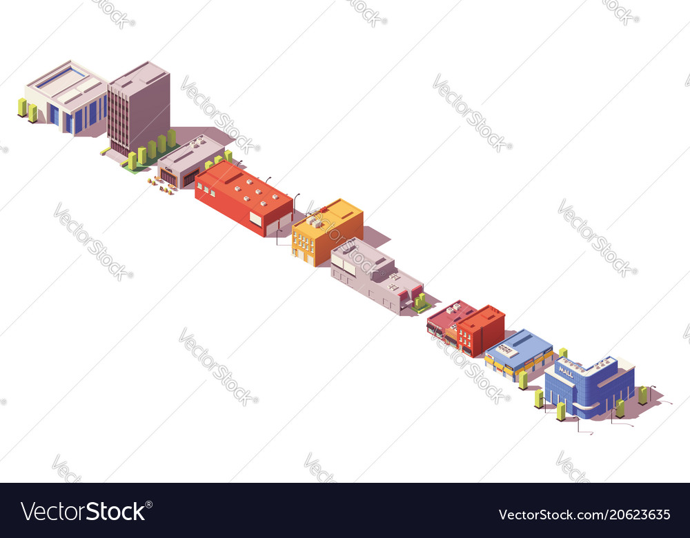 Low poly isometric buildings set