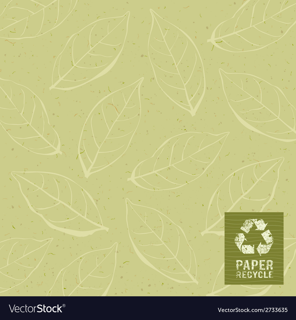 Paper recycle on leaf design background