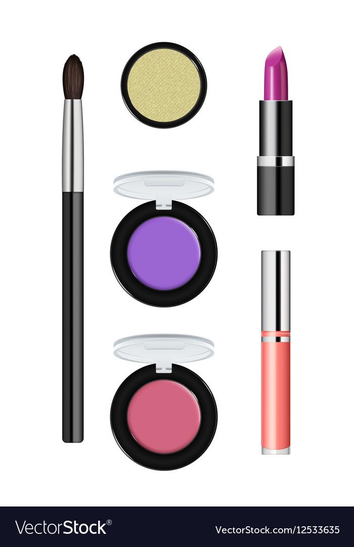 Realistic makeup cosmetics set vector image