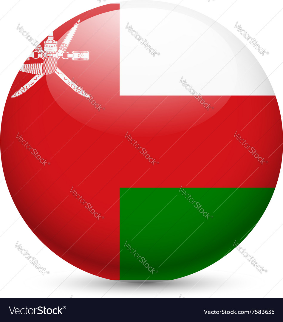Round glossy icon of oman vector image