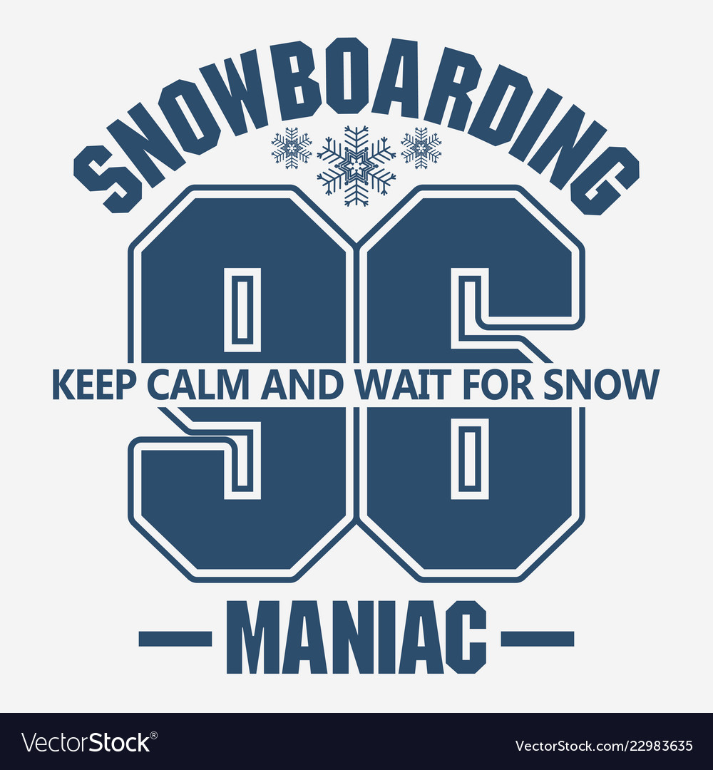 Snowboarding winter sport emblem t-shirt fashion