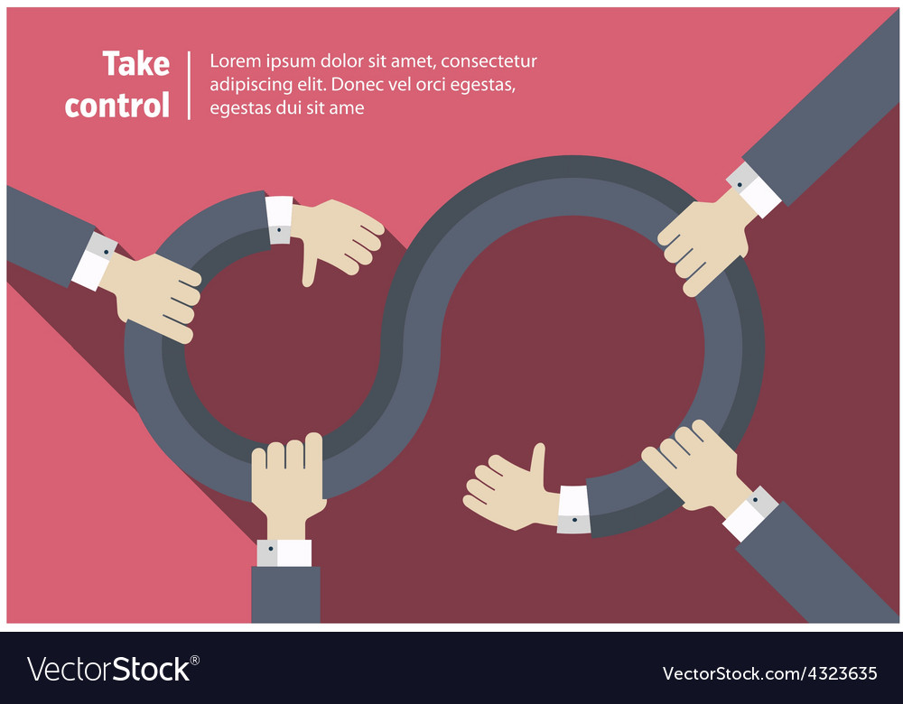 Take Control Infinity Abstract Symbol With Hands Vector Image