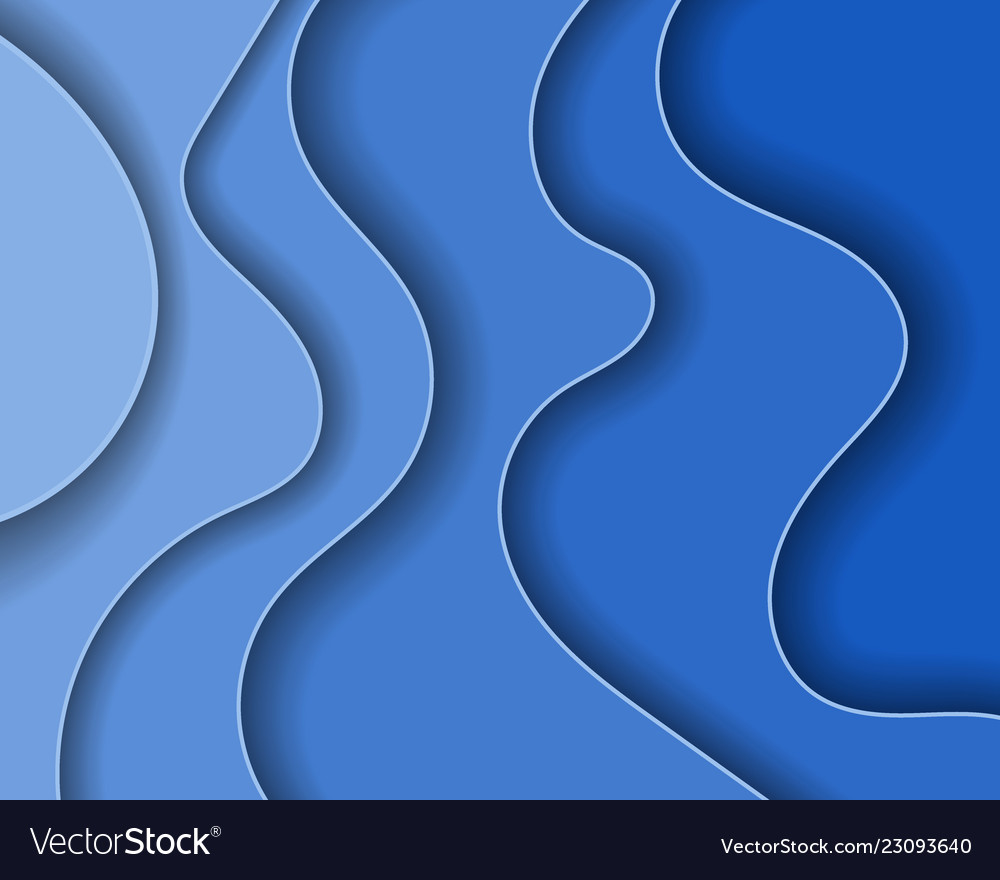 Abstract blue paper waves and seacoast for banner