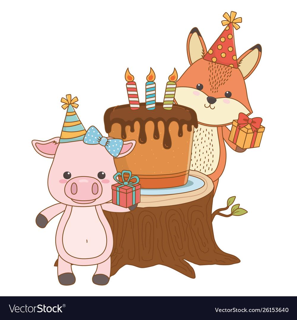 Brilliant Animals Cartoons With Happy Birthday Cake Design Vector Image Funny Birthday Cards Online Alyptdamsfinfo