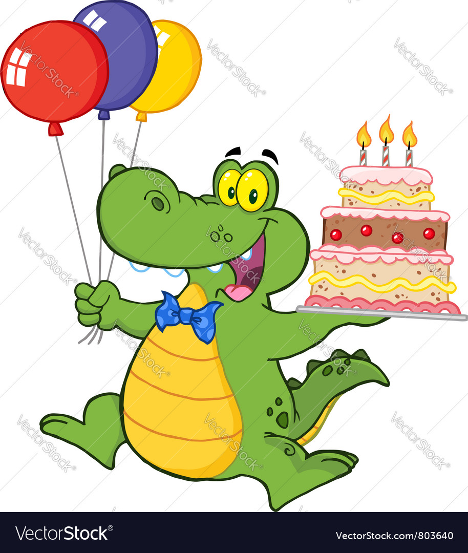 Enjoyable Birthday Alligator With Balloons And Cake Vector Image Funny Birthday Cards Online Alyptdamsfinfo