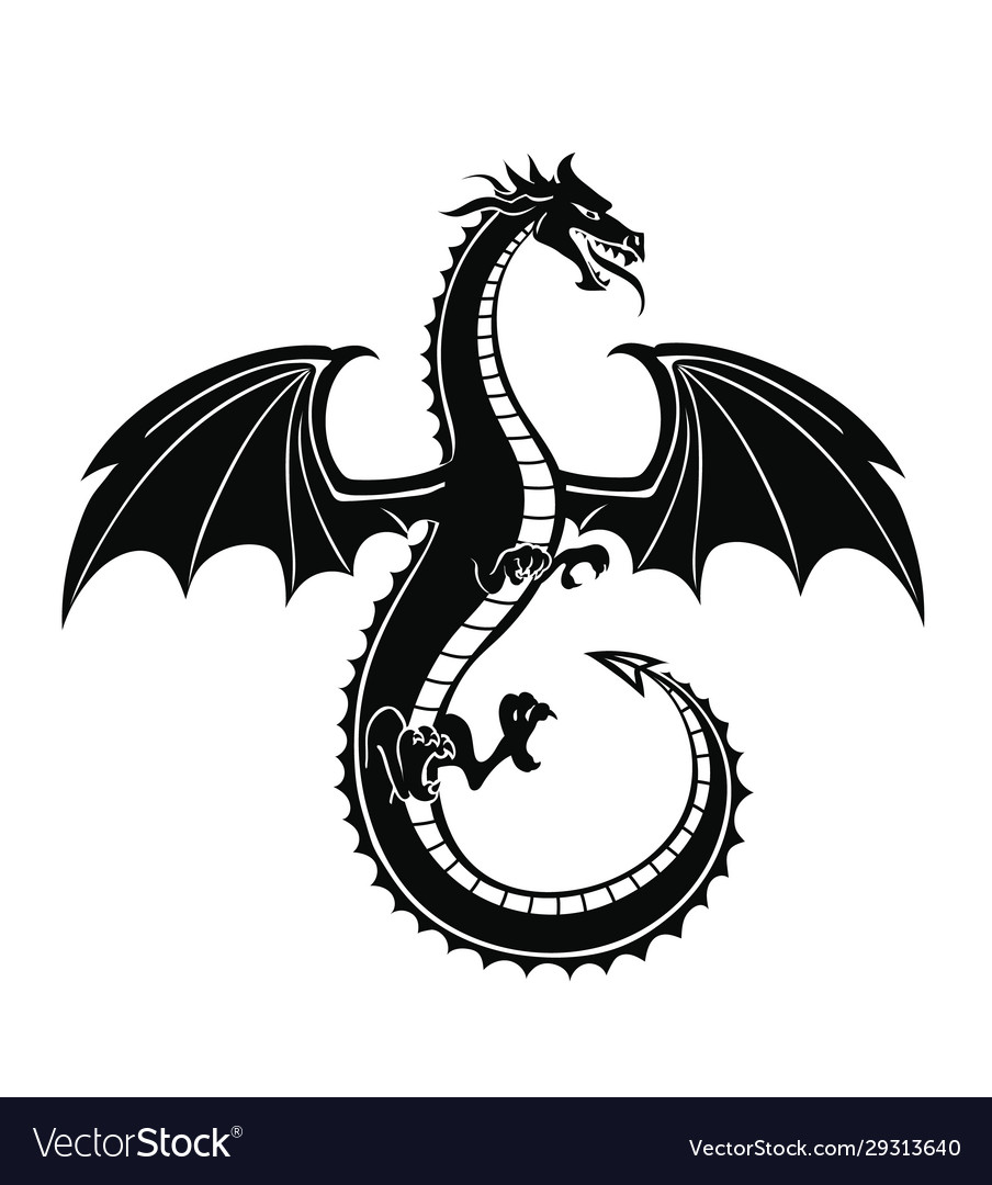 Black silhouette dragon