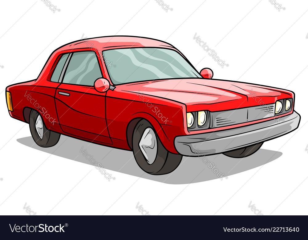 Cartoon red american retro muscle car icon