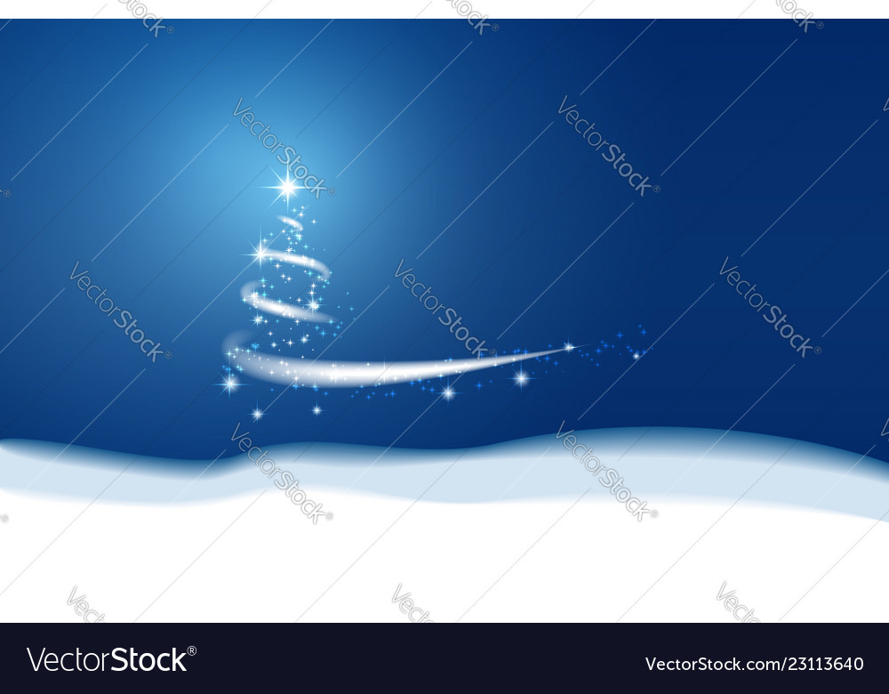 Christmas blue background blizzard stars and snow