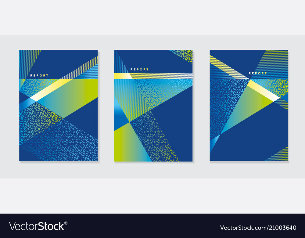 Concept modern blue and green geometric cover vector image