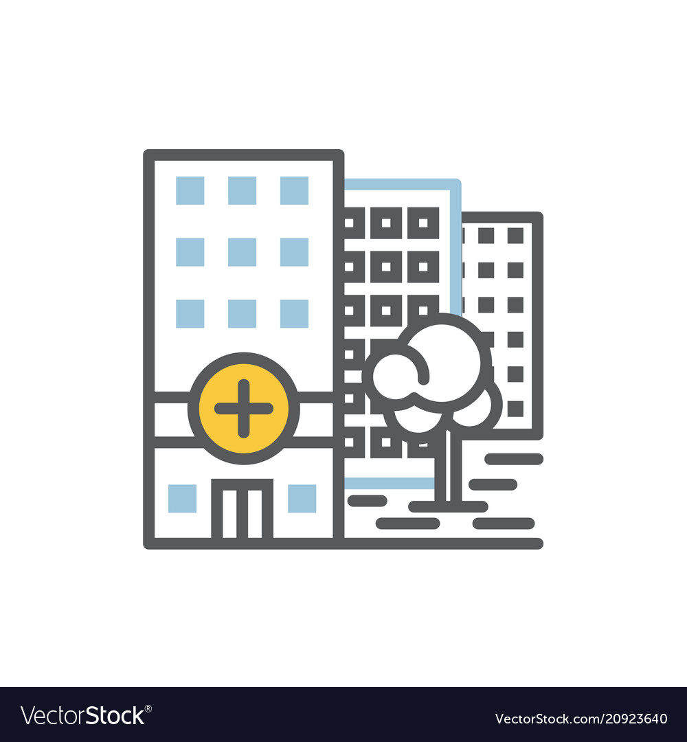 Hospital building icon flat and line vector image