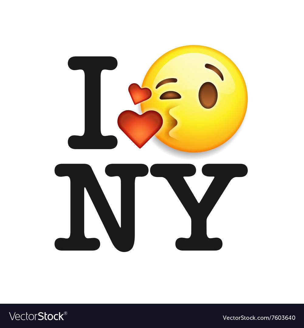 I love New York font with emoji kiss face