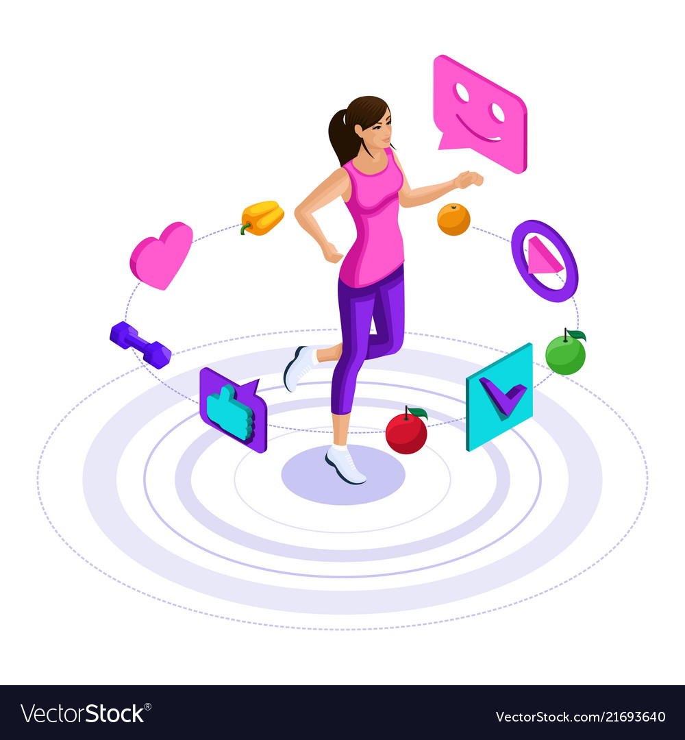 Isometry girl icons of a healthy lifestyle