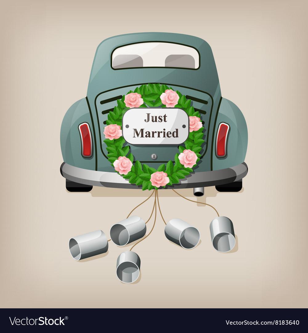 Just married on car Wedding car