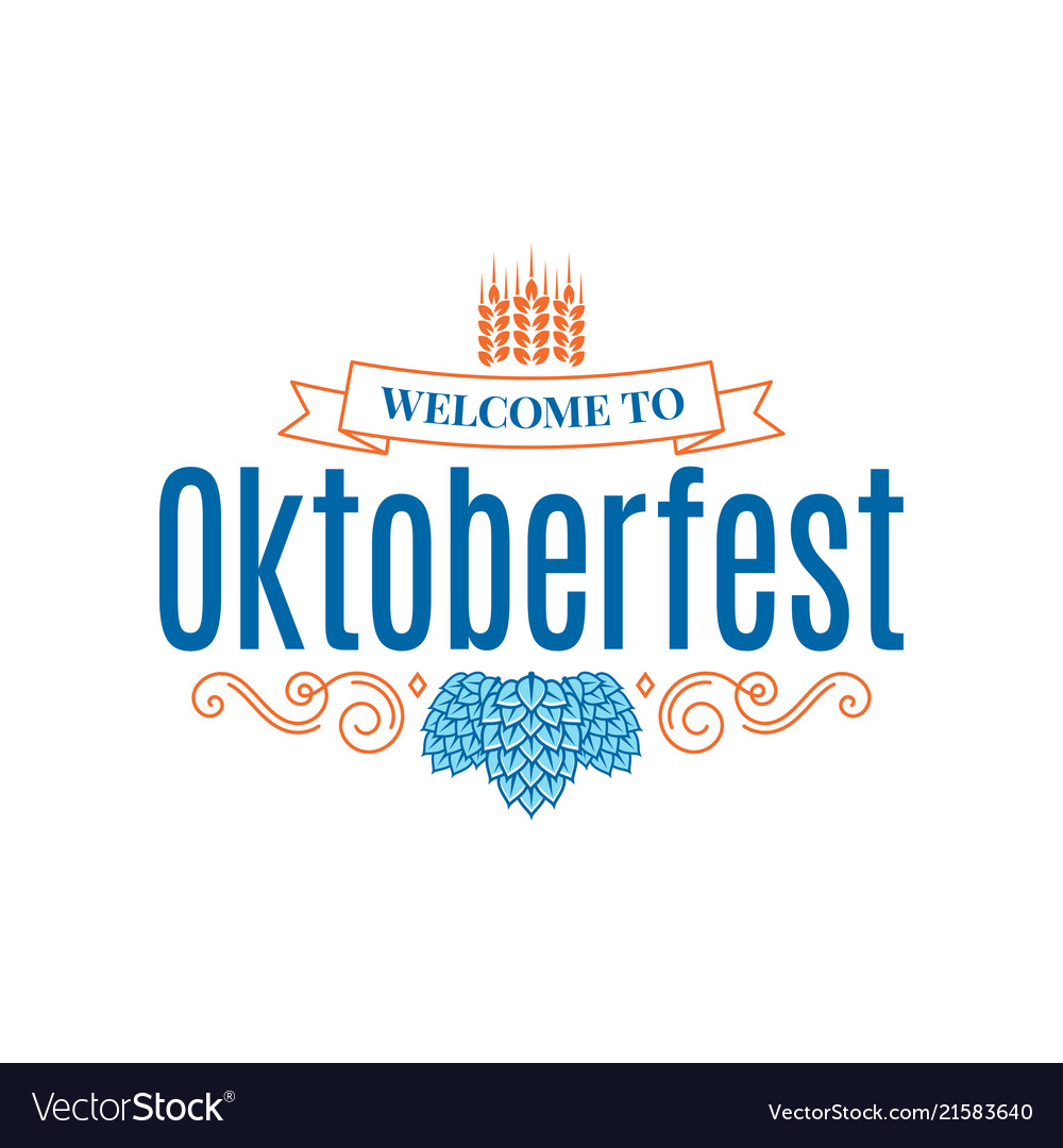 Oktoberfest vintage lettering with hops and wheat