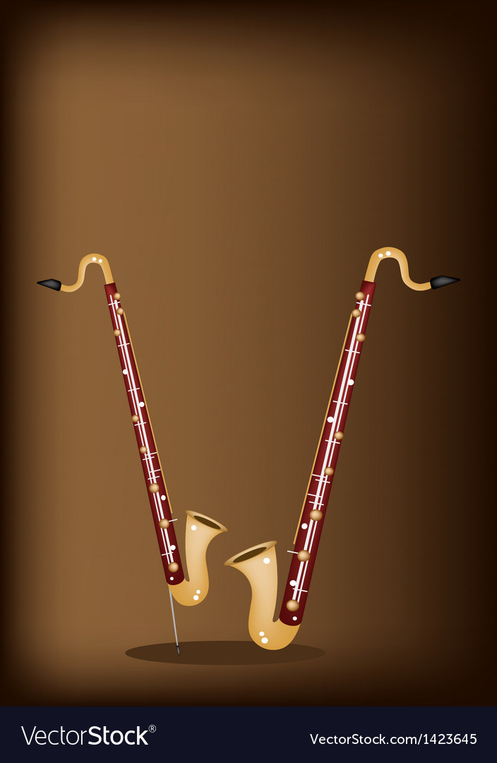 A Musical Bass Clarinet on Dark Brown Background vector image