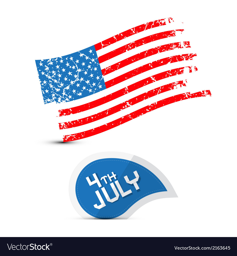 American Flag Dirty Grunge 4th July Symbol Vector Image