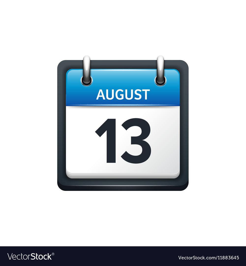 August 13 Calendar icon flat