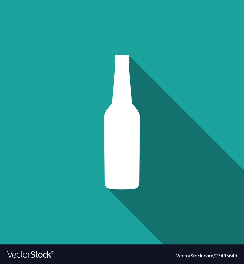 Beer bottle icon isolated with long shadow