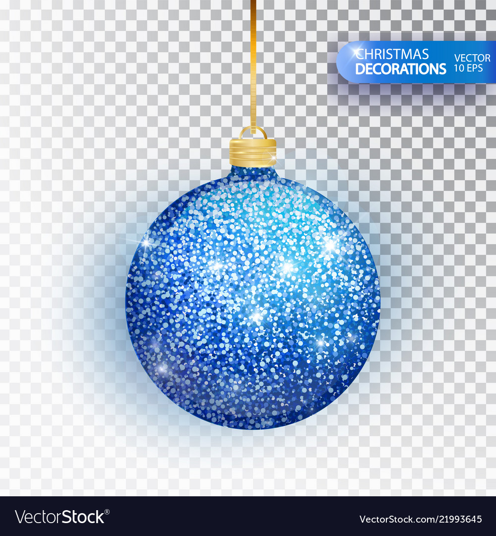 Christmas bauble blue glitter isolated on white