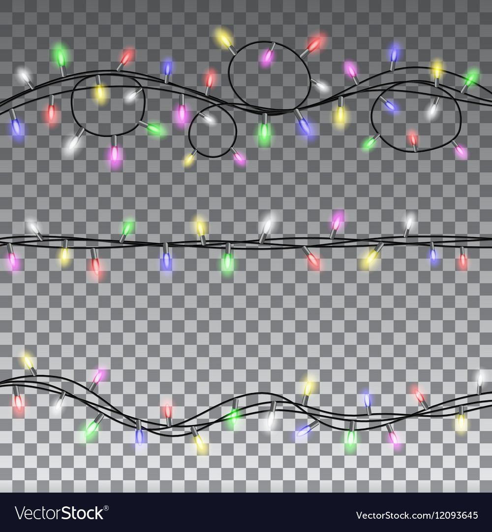 Christmas lights isolated design elements vector image