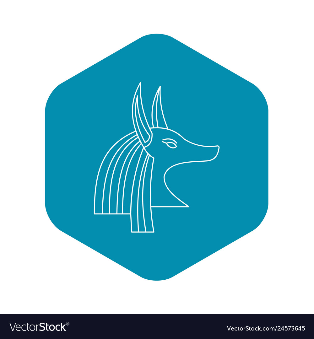 Head of egyptian god anubis icon outline style vector image