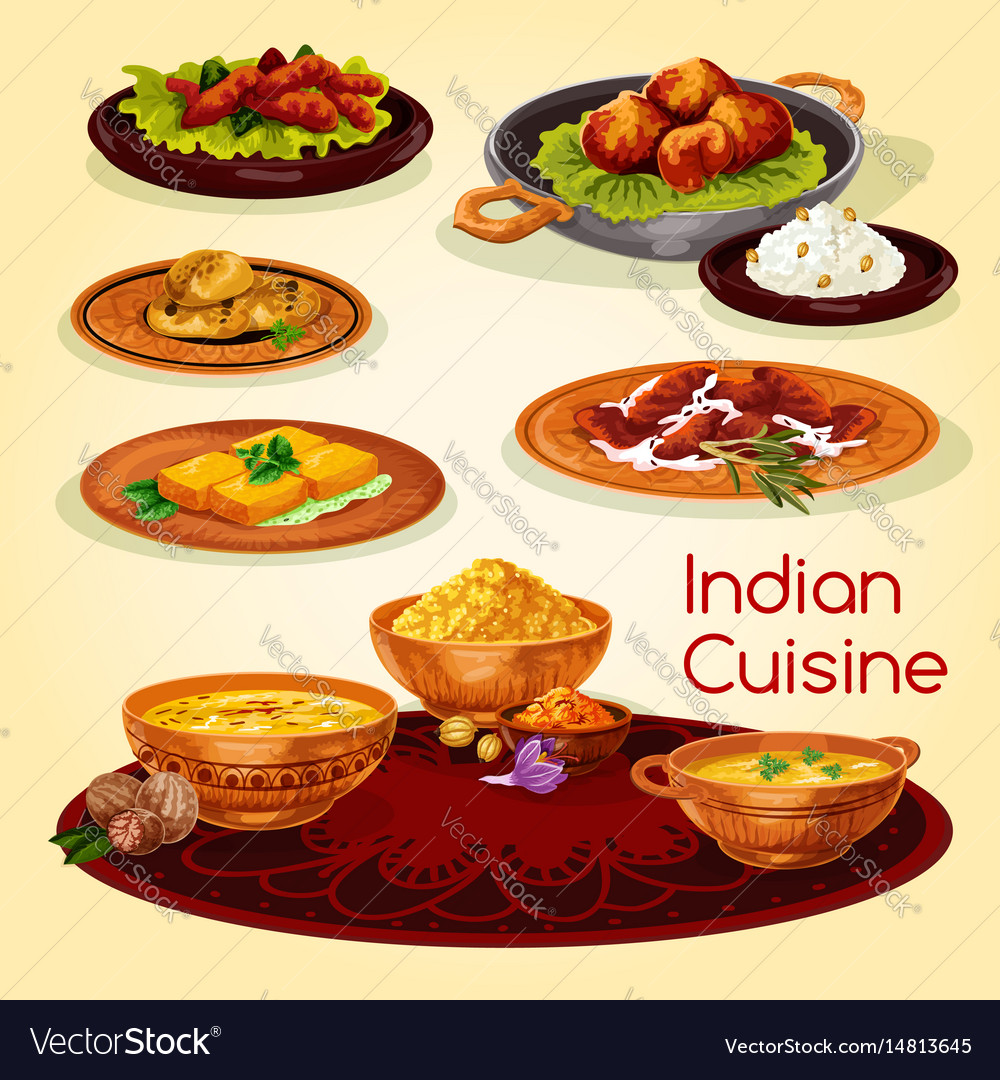 Indian cuisine dinner dishes cartoon menu design