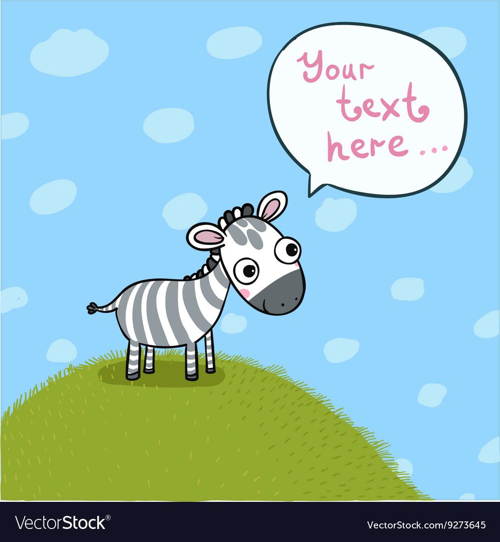 Little cute zebra in the meadow