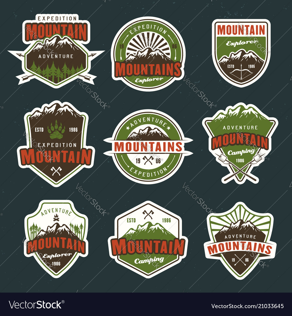 Mountain travel colored emblems or badges