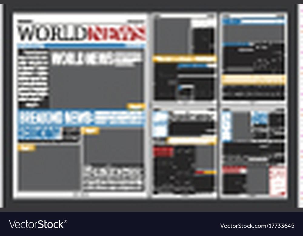 Newspaper Headlines Template Realistic Poster Vector Image