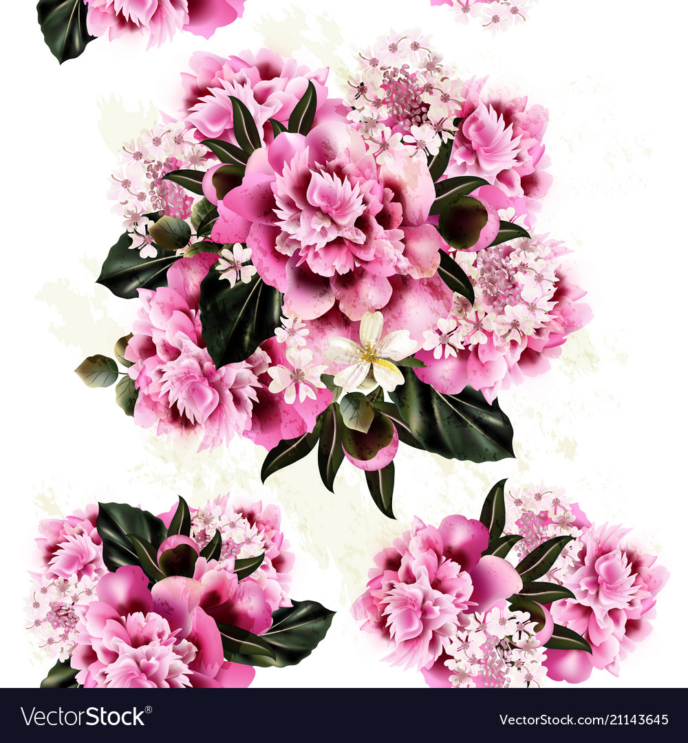 Seamless Pattern For Wallpaper Design With Peony Vector Image
