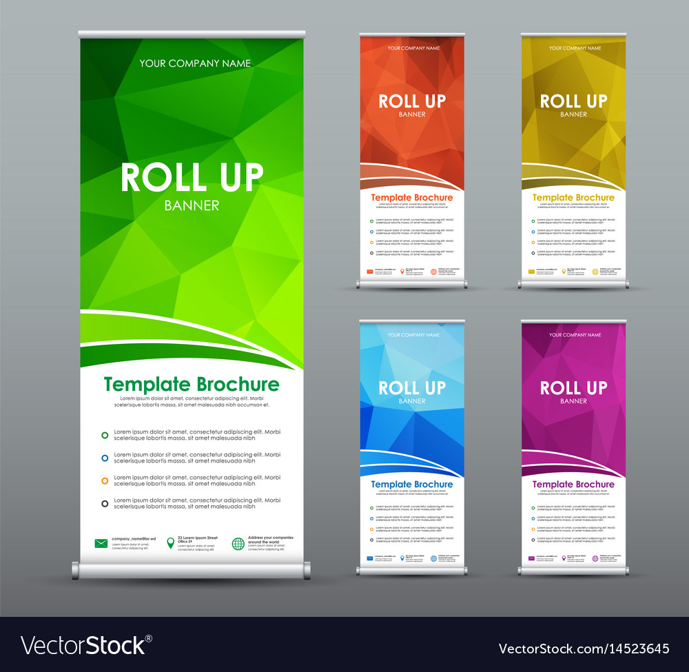 Set of roll up banner for business with abstract