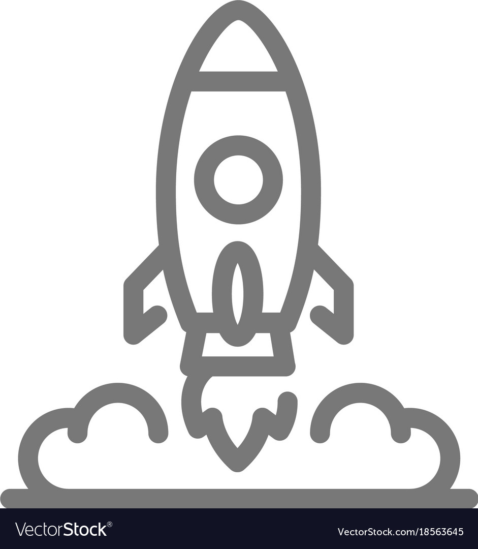 Simple rocket and spaceship line icon symbol and vector image