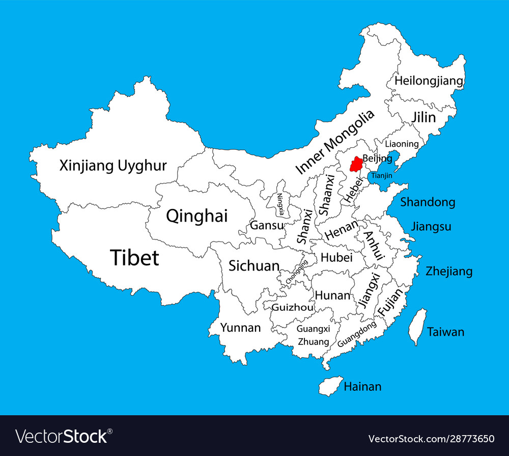beijing in china map Beijing Province Map China Map Royalty Free Vector Image beijing in china map