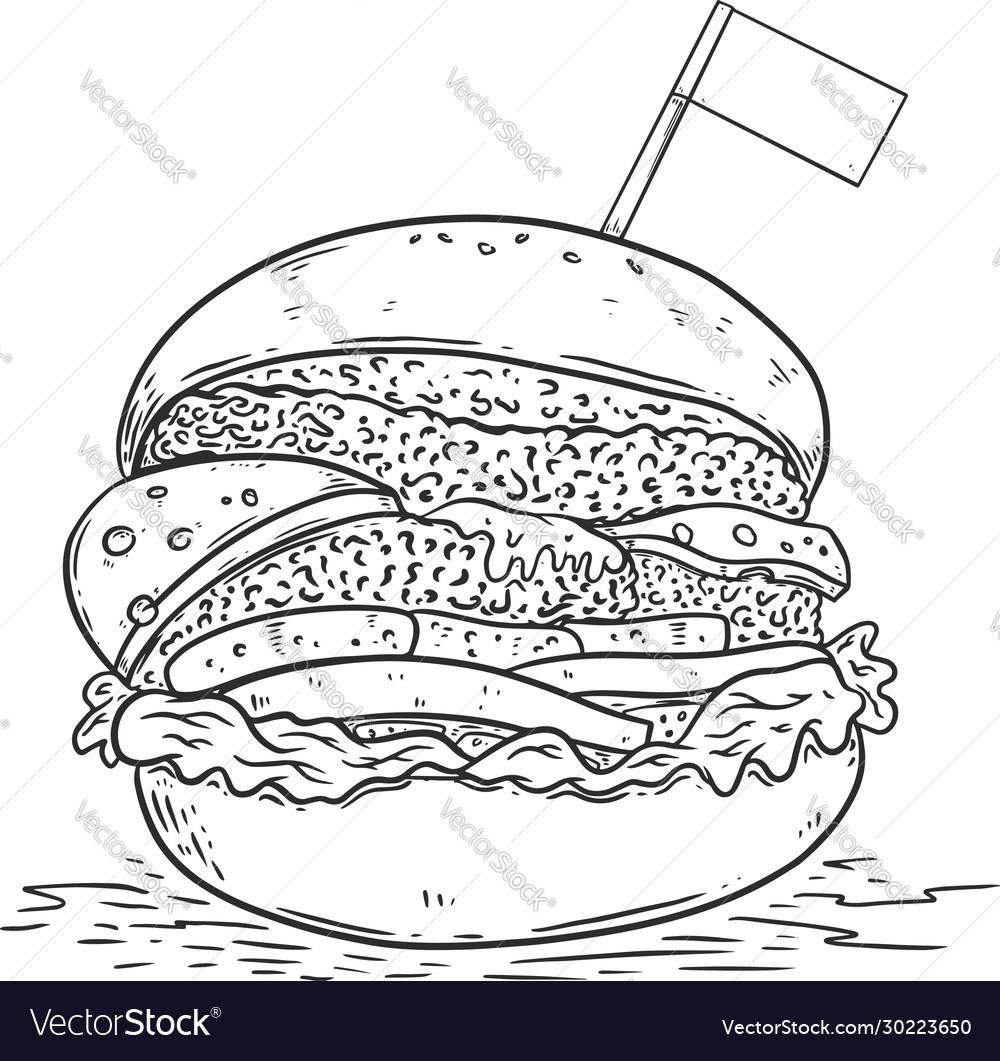 Burger in engraving style design element for logo