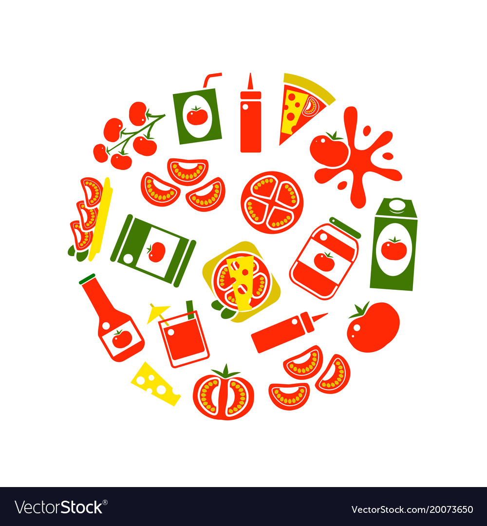 cartoon tomato products round design template vector image