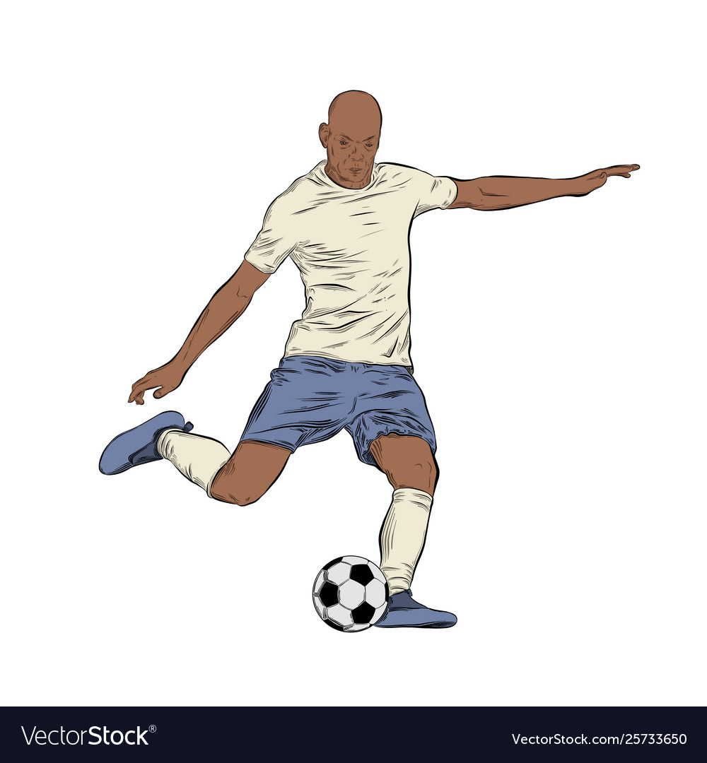 Hand drawn sketch footballer in color isolated